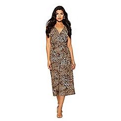 Quiz - Black and brown leopard print jumpsuit