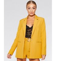 5fc97e5a20342 Quiz - Olivia s mustard woven long sleeves suit jacket