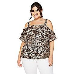 Quiz - Curve leopard print cold shoulder top