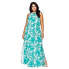 Quiz - Curve green palm print maxi dress