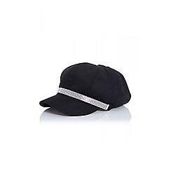 Quiz - Black Diamante Military Hat