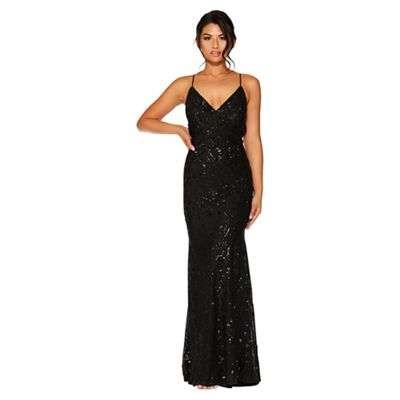 Quiz   Black Sequin V Neck Maxi Dress by Quiz