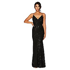 Quiz - Black Sequin V Neck Maxi Dress