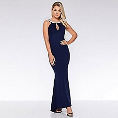 Quiz - Navy ruffle embellished back fishtail maxi dress