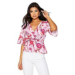 Quiz - Pink and red crepe floral print top