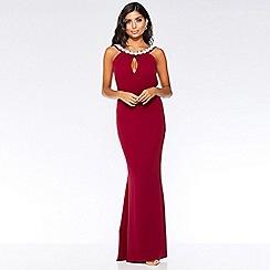 Quiz - Berry ruffle embellished back fishtail maxi dress