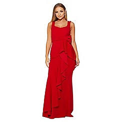 Quiz - Red bow ruffle front maxi dress