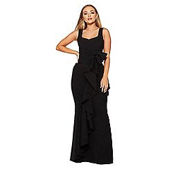 Quiz - Black bow ruffle front maxi dress