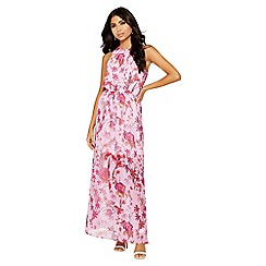Quiz - Pink and red floral maxi dress