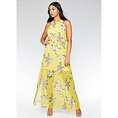 Quiz - Yellow and pink floral maxi dress