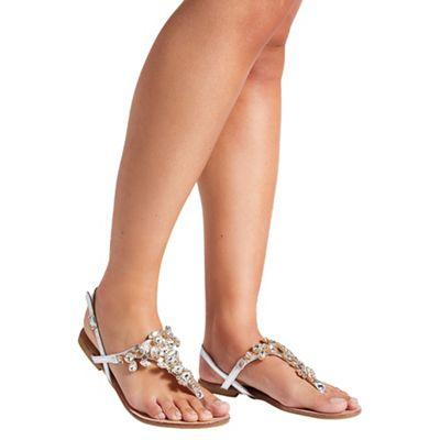 Quiz - Silver Metallic Jewel Flat Sandals