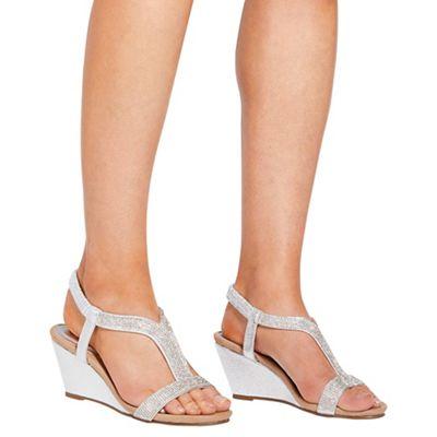 Quiz - Silver diamante wedge sandals