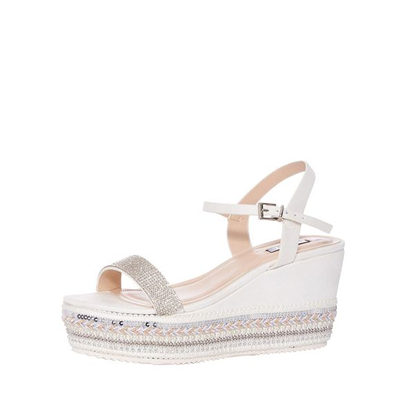 Sole Strap Quiz White Plait Sandals Wedge Diamante xqwHpI