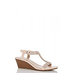 Quiz - Nude jewel low heel wedges