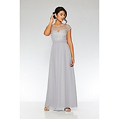Quiz - Grey chiffon cap sleeve maxi dress