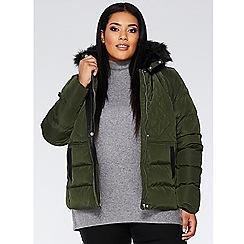 Quiz - Curve khaki padded faux fur hood jacket