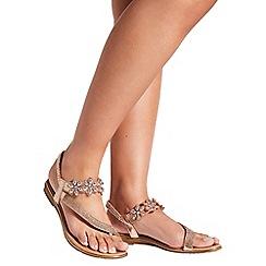 Quiz - Rose Gold Slant Floral Jewel Sandals