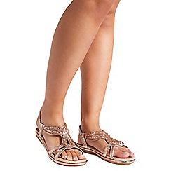 Quiz - Rose gold diamante flat sandals