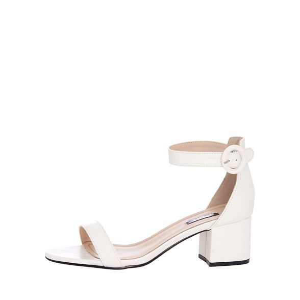 Quiz White Round Buckle Heel Sandals Low RS7Rnqwrg