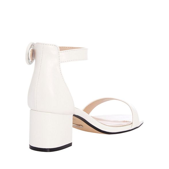 Quiz White Round Buckle Heel Sandals Low RS7Rnqwrg