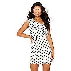 Quiz - White and black polka dot midi dress