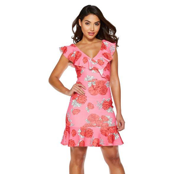 frill and Pink rose print red dress Quiz gwXqSzq