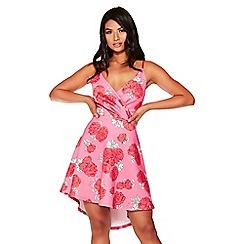 Quiz - Pink rose print wrap dip hem dress