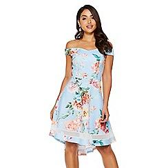 Quiz - Blue and pink floral bardot dip hem dress