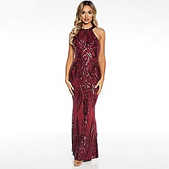 Quiz - Berry sequin high neck fishtail maxi dress