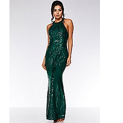 Quiz - Olivia's bottle green sequin high neck fishtail maxi dress