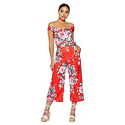Quiz - Red and pink floral tie belt culotte jumpsuit