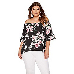 Quiz - Curve black and pink floral bardot top