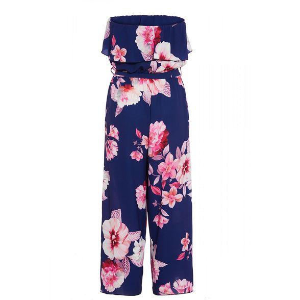 floral print bandeau jumpsuit Navy Quiz pink amp; B6Ox1q