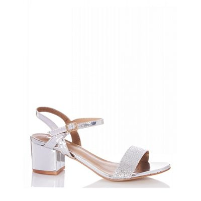 Quiz - Silver Metallic Strap Low Heels