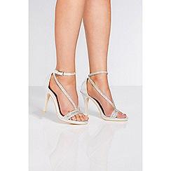 Quiz - Silver shimmer diamante heel sandals