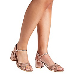 Quiz - Rose gold shimmer cross strap sandals