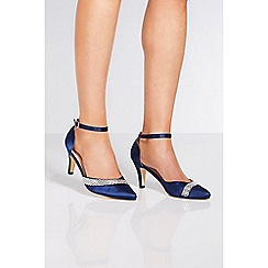 Quiz - Navy satin diamante high heels