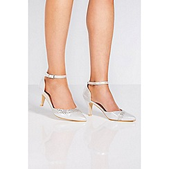 Quiz - Silver shimmer diamante high heels