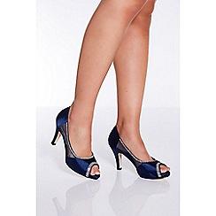 Quiz - Navy peep toe low heel shoes