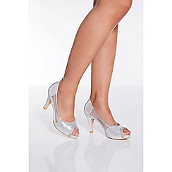 Quiz - Silver shimmer peep toe low heel shoes