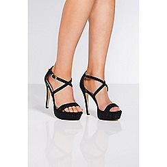 Quiz - Black diamante cross strap heel sandals