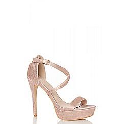 Quiz - Rose gold satin diamante heel sandals