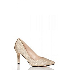Quiz - Gold glitter pointed toe low heels shoes