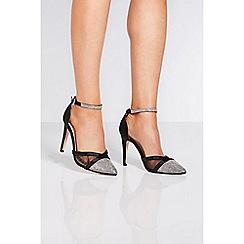 Quiz - Black satin ankle strap court shoes
