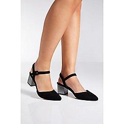 Quiz - Black faux suede glitter low heels shoes