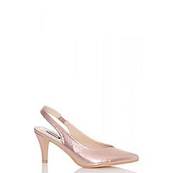 Quiz - Rose gold shimmer sling back low heels