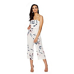 Quiz - Cream And Pink Floral Culottes Jumpsuit