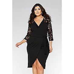 Quiz - Curve black lace 3/4 sleeves dress