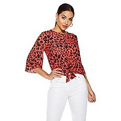 Quiz - Red leopard print 3/4 sleeve top