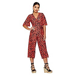 Quiz - Red and black leopard print wrap jumpsuit